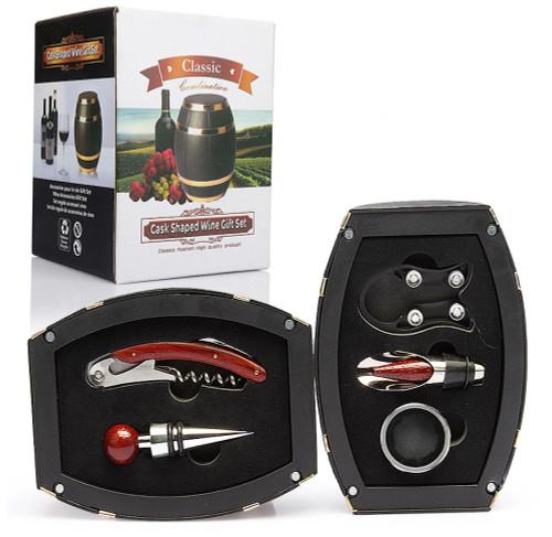 Wine Oak Barrel Shaped Wine Accessories Gift Set