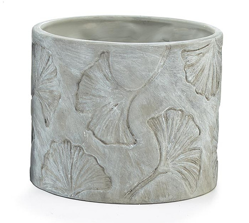 Recessed Ginkgo Leaf on Gray Planter