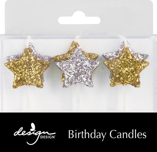 Glitter Star Cake Candles