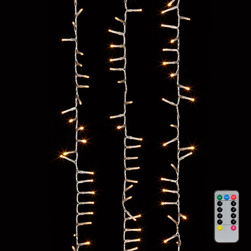 36.5' LED Snake Warm White Lights Garland on Clear Wire + Remote