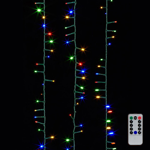 "36.5"" Multicolored LED Snake Light Garland on Green Wire+ Remote"