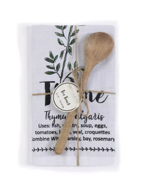Thyme Tea Towel with Spoon
