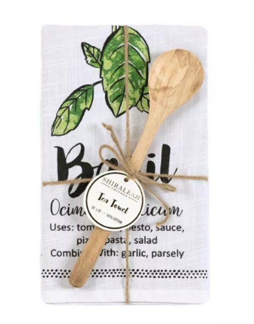 Basil Tea Towel with Spoon