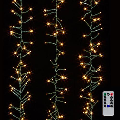 10' Cluster Garland Green Wire W/300 White Light W/Remote
