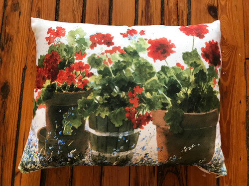 Red Geraniums Indoor/Outdoor Pillow
