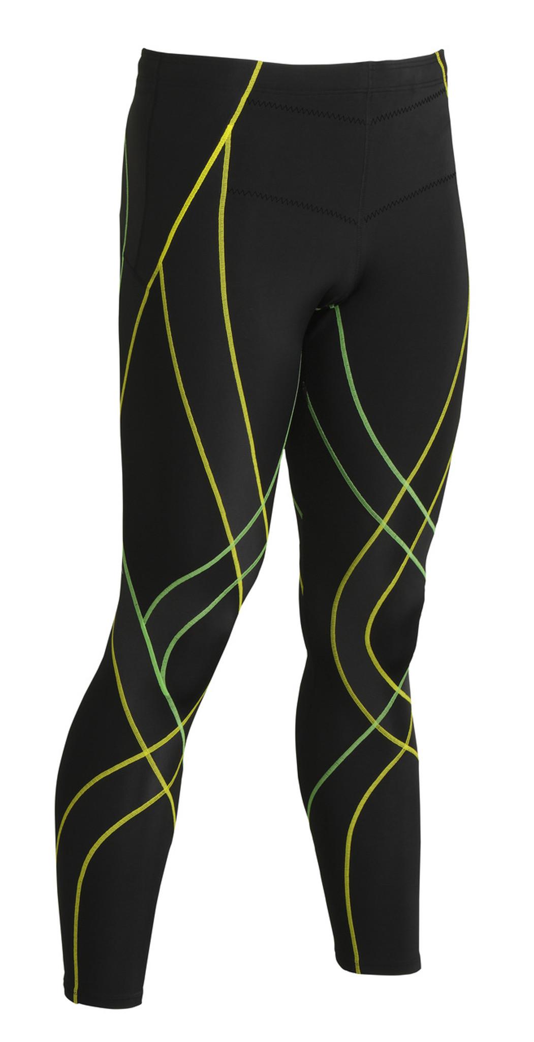 29cd10837bf301 Home · Run · CW-X Mens Endurance Generator Tights 229809 · Black / Green /  Yellow - Front