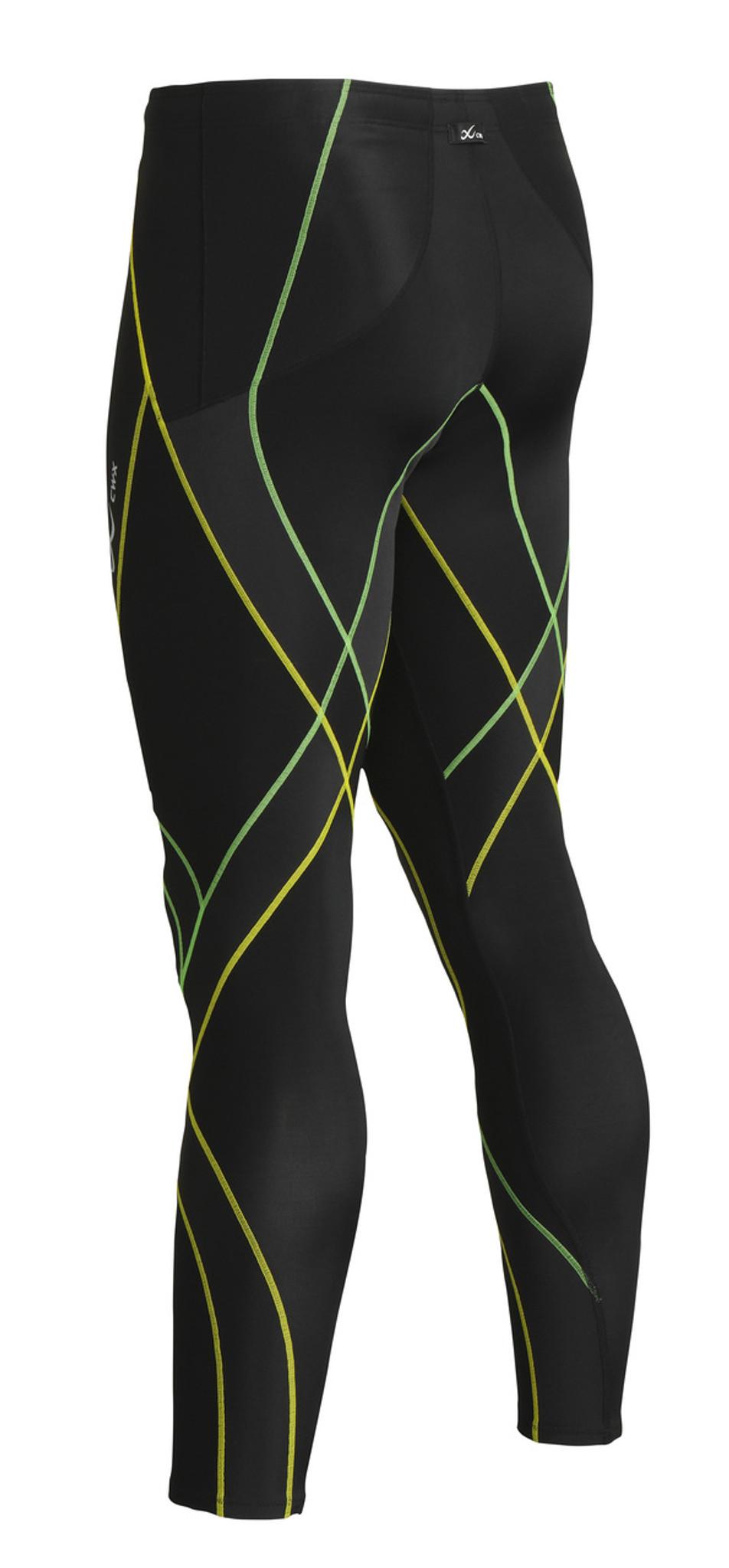 6902fbed8b7059 Home · Run · CW-X Mens Endurance Generator Tights 229809 · Black / Green /  Yellow - Front. Black / Green / Yellow - Rear
