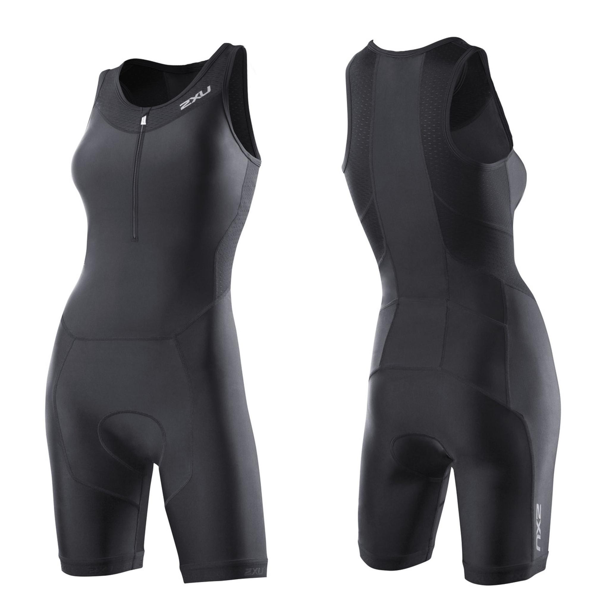 e06b9379 2XU Women's Perform Trisuit -Black, Black/ Synthetic Pink, Charcoal/ Astro  Green, Charcoal/ Ultramarine Blue - MyTriathlon
