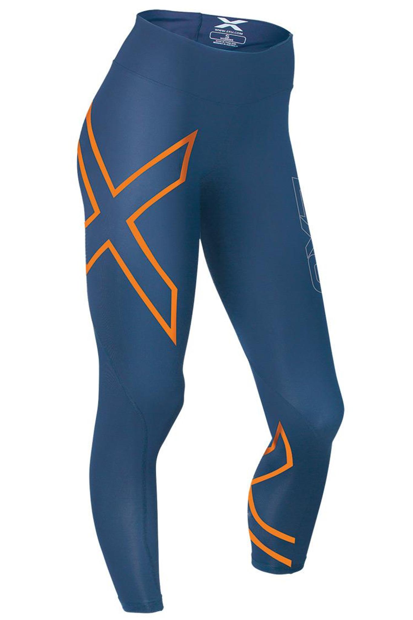 9956b709e8 2XU - Women's Mid Rise Compression Tights - Dark Blue/ Torch Orange