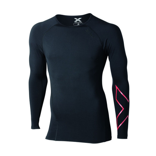 2XU - Thermal Compression Long Sleeve Top - Men's - Black/ Red