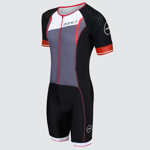 Zone3 - 2020 - Aero-Flo Lava Long Distance Full Zip Short Sleeve Trisuit - Men's