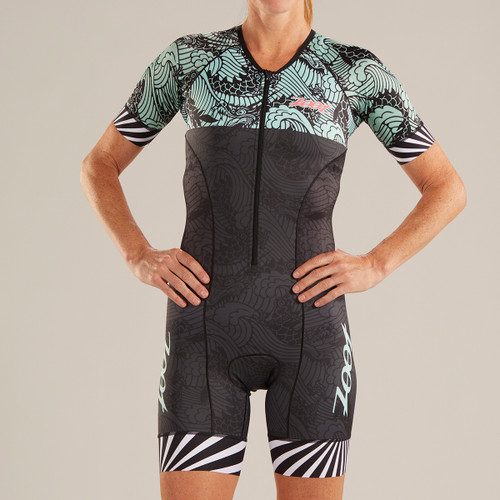 Zoot - LTD Tri Aero Short Sleeve Race Suit - Tokyo White Rays - * - Women's