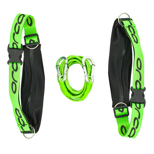 Orca - 2021 - Swimrun Bungee Cord including two race belts - Black Lime Green