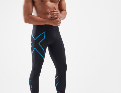 2XU - Men's MCS Run Compression Tights - Black/Ultra Aqua Reflective - Autumn/Winter 2020