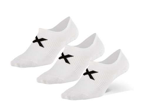 2XU - Unisex Invisible Socks 3 Pack - White/Black - Autumn/Winter 2020