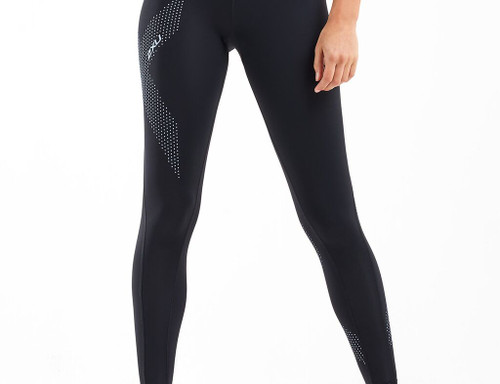 2XU - Women's Mid-Rise Compression Tights - Black/Dotted Swift Blue Chrome - Autumn/Winter 2020