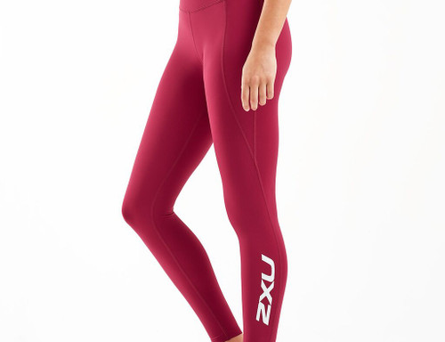 2XU - Women's Fitness New Heights Compression Tights - Cyber Maroon/White - Autumn/Winter 2020