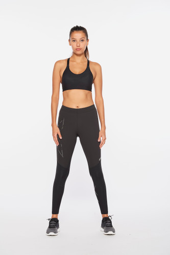 2XU - Women's Wind Defence Compression Tights - Black/Striped Silver Reflective - Autumn/Winter 2021