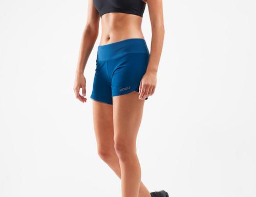 2XU - XVENT Women's 4-Inch Shorts - Poseidon/Silver Reflective - Autumn/Winter 200