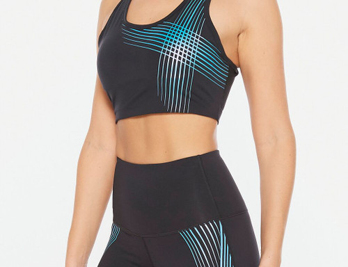 2XU - ACTIVE Women's Medium Impact Crop Top - Black/Teal Chrome Lines - Autumn/Winter 2020