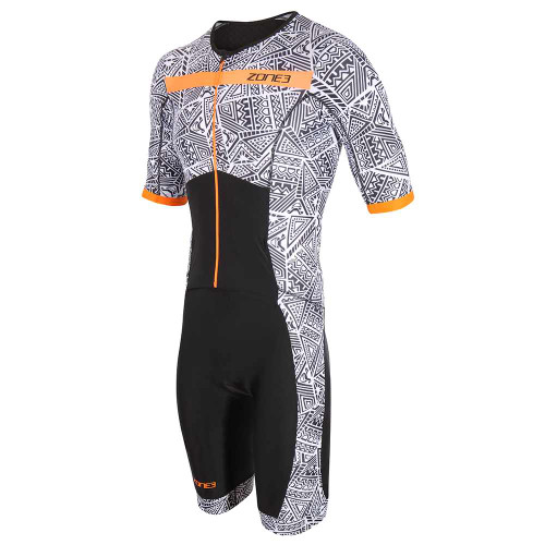 Zone3 - Activate+ Men's Kona Speed Short-Sleeve Full Zip Trisuit 2021 - Black/White/Orange