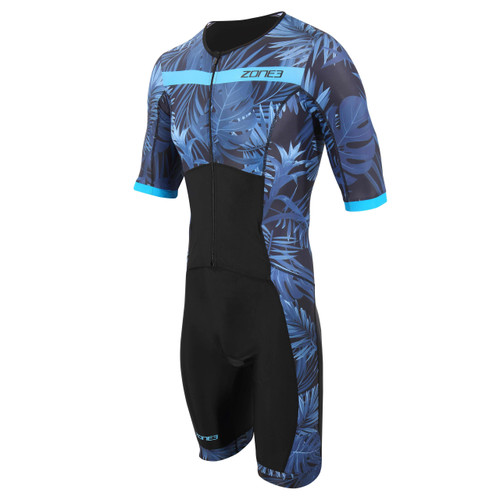 Zone3 - Activate+ Men's Tropical Palm Short Sleeve Full Zip Trisuit 2021 - Navy/Blue
