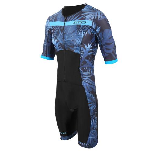 Zone3 - Activate+ Men's Tropical Palm Short Sleeve Full Zip Trisuit 2021 - Navy/Blue