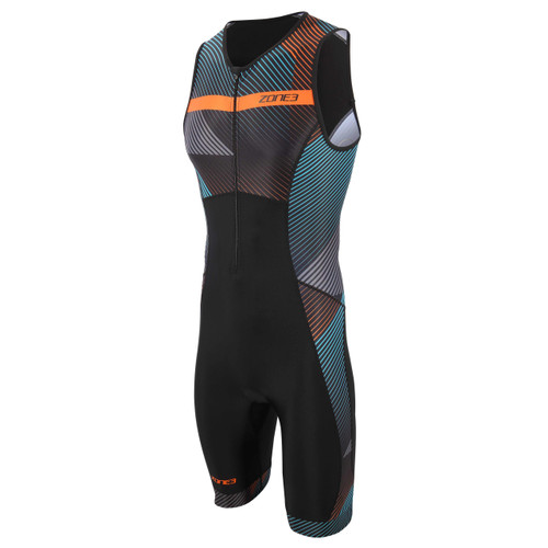 Zone3 - Activate+ Momentum (Stripes) Men's Sleeveless Trisuit - Black/Teal/Purple/Pink - 2021