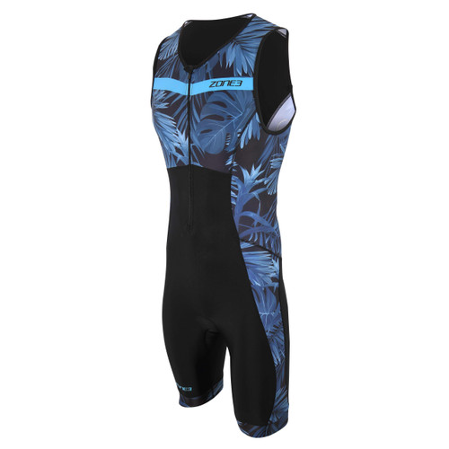 Zone3 - Activate+ Tropical Palm Men's Sleeveless Trisuit 2021 - Navy/Blue