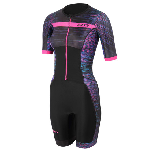 Zone3 - Activate+ Momentum Women's Short Sleeve Full Zip Trisuit 2021 - Black/Teal/Purple/Pink
