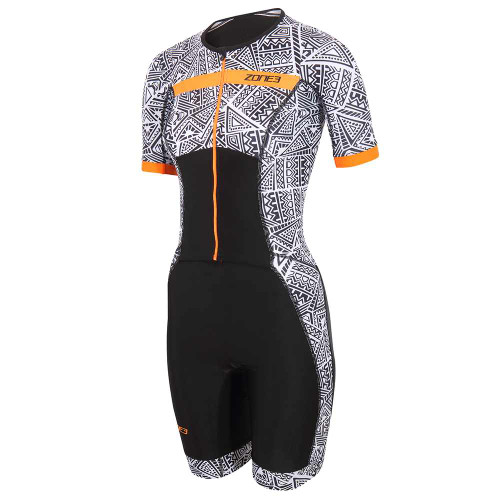 Zone3 - Activate+ Kona Speed Short Sleeve Full Zip Women's Trisuit 2021 - Black/White/Orange