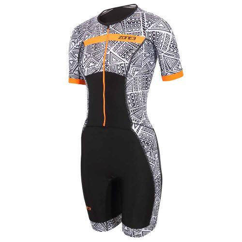 Zone3 - Activate+ Kona Speed Short Sleeve Full Zip Women's Trisuit 2021 - Black/White/Orange