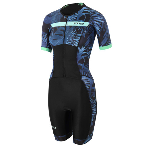 Zone3 - Activate+ Women's 2021 Tropical Palm Short-Sleeve Full Zip Trisuit - Navy/Mint