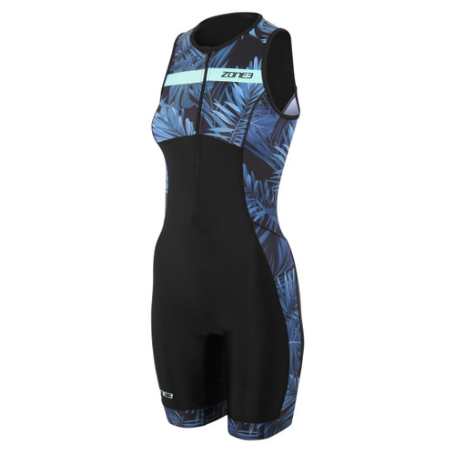 Zone3 - Activate+ Tropical Palm Women's Sleeveless Trisuit 2021 - Navy/Mint