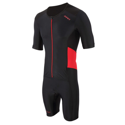 Zone3 - Activate Men's Short Sleeve Full Zip Trisuit 2021 - Black/Red