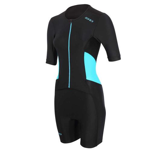 Zone3 - Activate Women's Short Sleeve Full Zip Trisuit 2021 - Black/Blue
