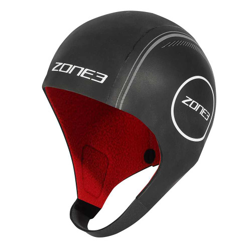 Zone3 - Heat-Tech Unisex Neoprene Swim Cap 2021 - Black/Silver/Red