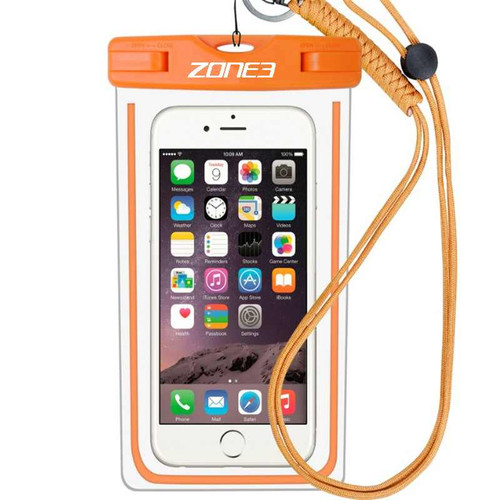 Zone3 - Waterproof Phone Pouch 2021 - Clear/Orange