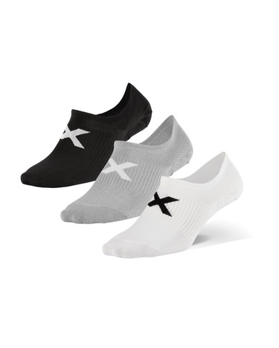 2XU - Invisible Unisex Socks 3-Pack 2021 - Three Colours (1x black, 1x white, 1x grey)