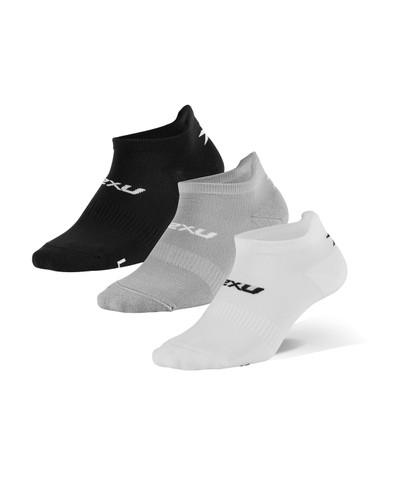 2XU - Unisex Ankle Socks, 3-Pack 2021 - Black, White, Grey