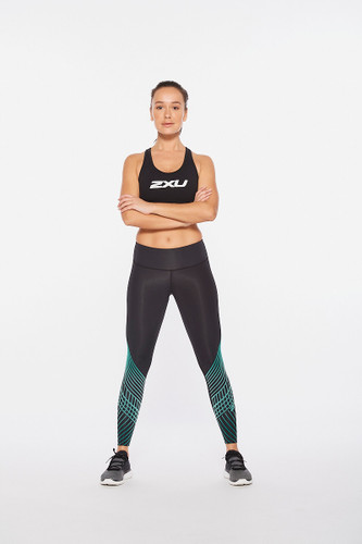 2XU - Motion Texture Women's Mid-Rise Compression Tights 2021 - Black/Botanical