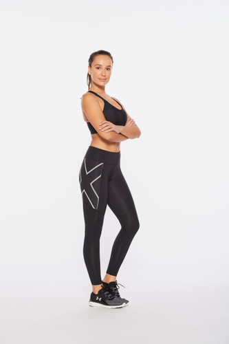 2XU - Aero Vent Mid-Rise Compression Tights - Women's - Black/Silver Reflective - 2021