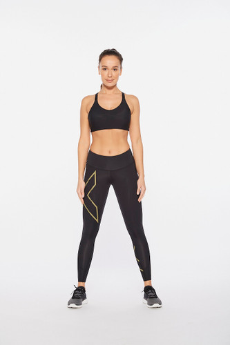 2XU - Light Speed Women's Mid-Rise Compression Tights 2021 - Black/Gold Reflective