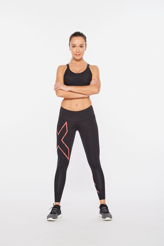 2XU - Light Speed Mid-Rise Women's Compression Tights 2021 - Black/Cranberry Reflective