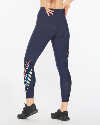 2XU - Aero Sculpt Women's Hi-Rise Compression Tights 2021 - Midnight/Electric Stripe