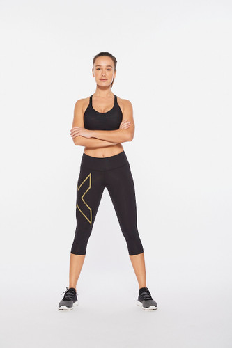 2XU - Light Speed Mid-Rise Compression 3/4 Tights - Women's - Black/Gold Reflective - 2021