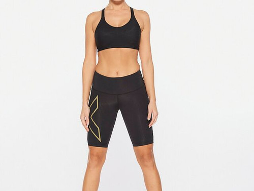 2XU - Light Speed Mid-Rise Compression Shorts - Women's - Black/Gold Reflective - 2021