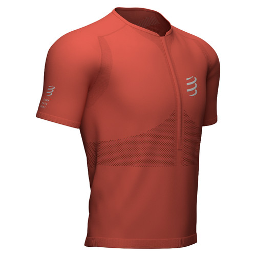 Compressport - Trail Men's Half-Zip Fitted Short-Sleeve Top 2021 - Red Clay