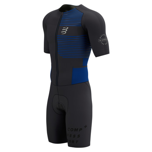 Compressport - Men's Aero Short-Sleeve Trisuit 2021 - Black/Blue Lolite