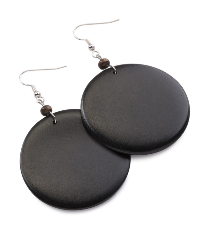 Afro Earrings hand crafted from African Ebony Wood